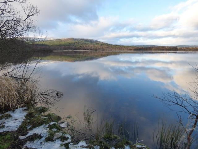 Loch Kinord with ice at edges