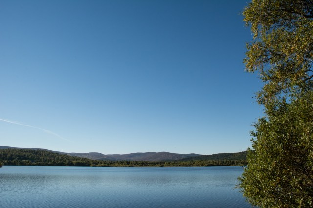 Barely a cloud in the sky over Loch Kinord