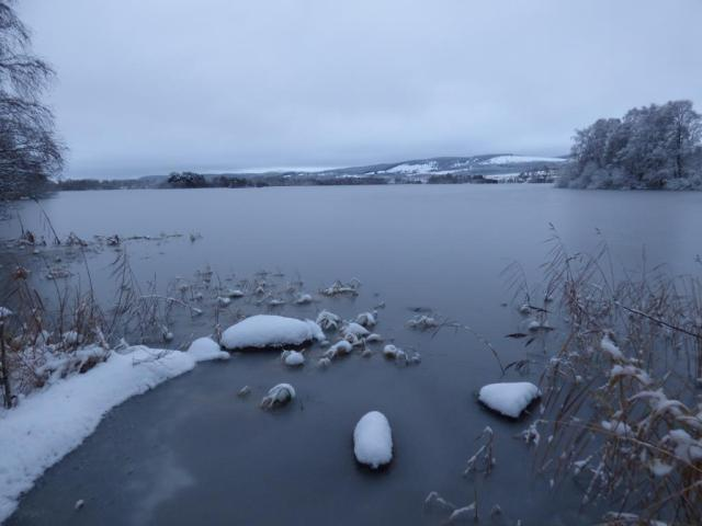 Loch Kinord is mostly frozen