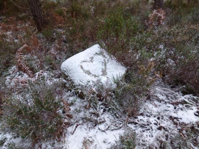 We love Dinnet too! Someone has drawn a snow heart on a boulder.