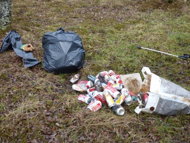 Litter found in the loch and buried in the bracken