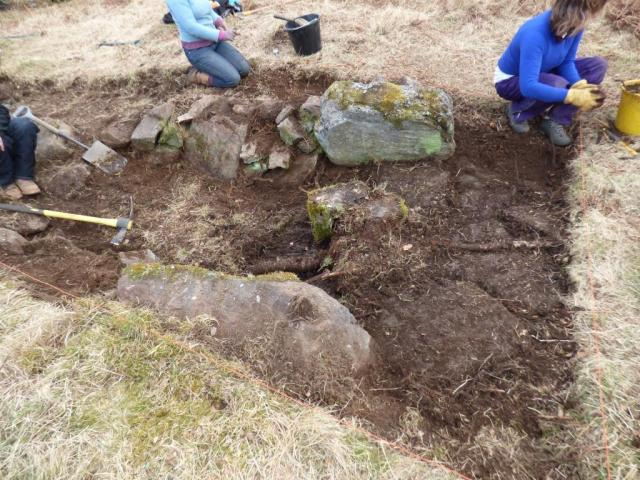 Archaeologist excavating souterrain near Old kinord