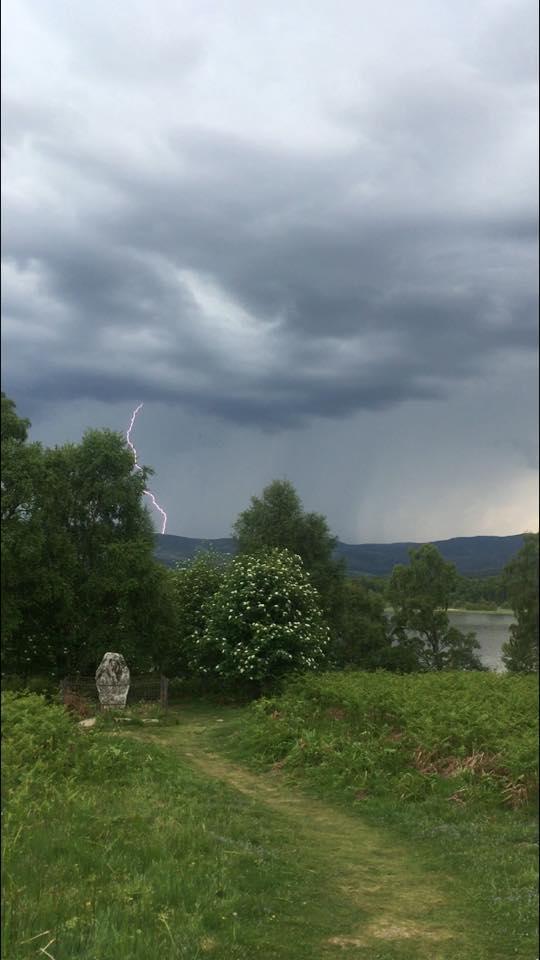 Lightning over the Celtic cross