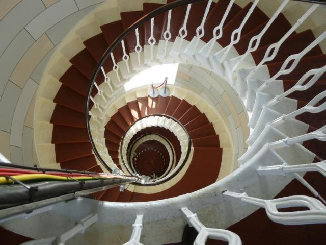 The ammonite-like Main Light stairs