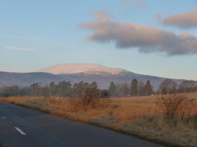 Morven with cloud and snow cap